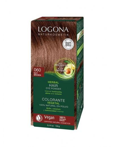 Natuurlijke Haarkleuring 060 Walnootbruin (notenbruin-kastanje)-Logona 100 g