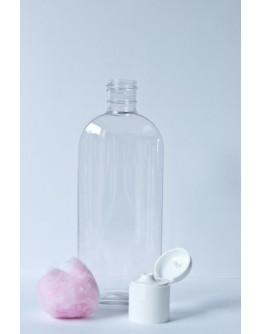 Fles PET helder transparant ovaal 250 ml m 24/415 met witte klapdop-Herbacos