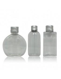 Fles drie transparante PET flessen Din 20/410 a 50 ml met dop