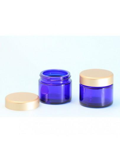 Crème pot glas blauw met gouden dop b 50 ml