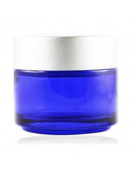 Crème pot glas blauw met mat zilveren dop a 100 ml