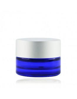 Crème pot glas blauw met mat zilveren dop a 5 ml