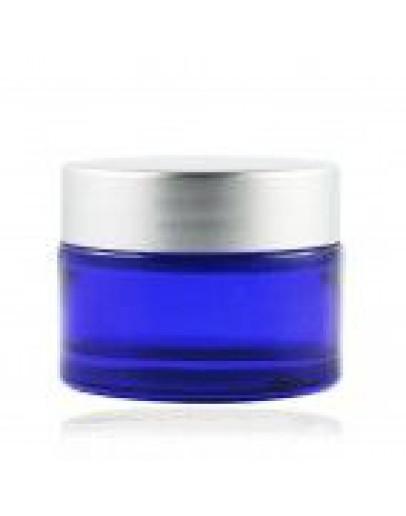 Crème pot glas blauw met mat zilveren deksel a 30 ml