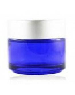 Crème pot glas blauw met matte zilveren dop a 50 ml-Herbacos
