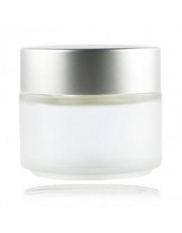 Crème pot mat glas met mat zilveren dop a 100 ml
