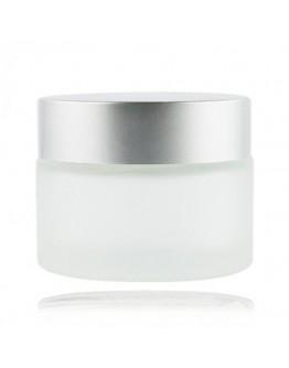 Crème pot mat glas met mat zilveren dop a 50 ml