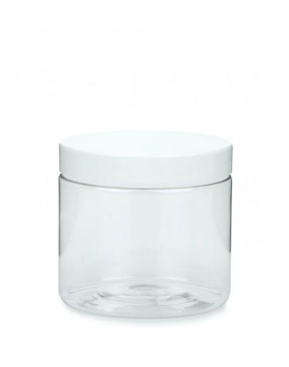 Zalfpot PET helder 200 ml met wit deksel-Herbacos