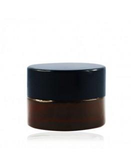Crème pot glas amber met dop zwart a 5 ml-Herbacos