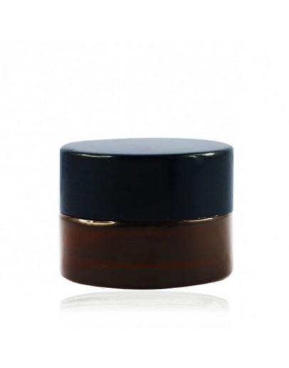 Crème pot glas amber met dop zwart a 5 ml-Alchemilla