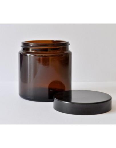 Zalfpot glas bruin 120 ml met zwarte dop-Herbacos
