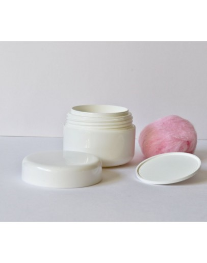 Zalfpot luxe plastiek wit nouvelle 30 ml dubbelwandig  compleet-Herbacos