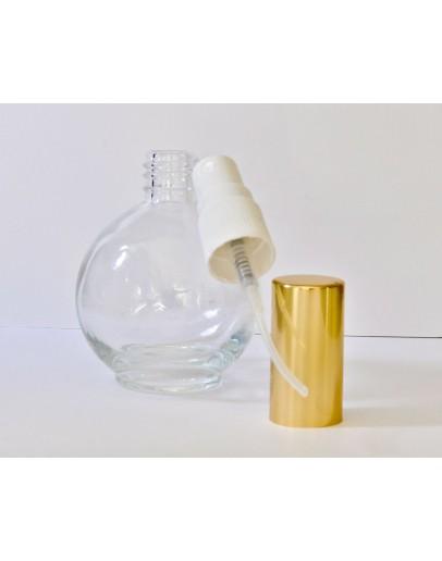 Verstuiver glas helder 75 ml bol met gouden dop-Herbacos